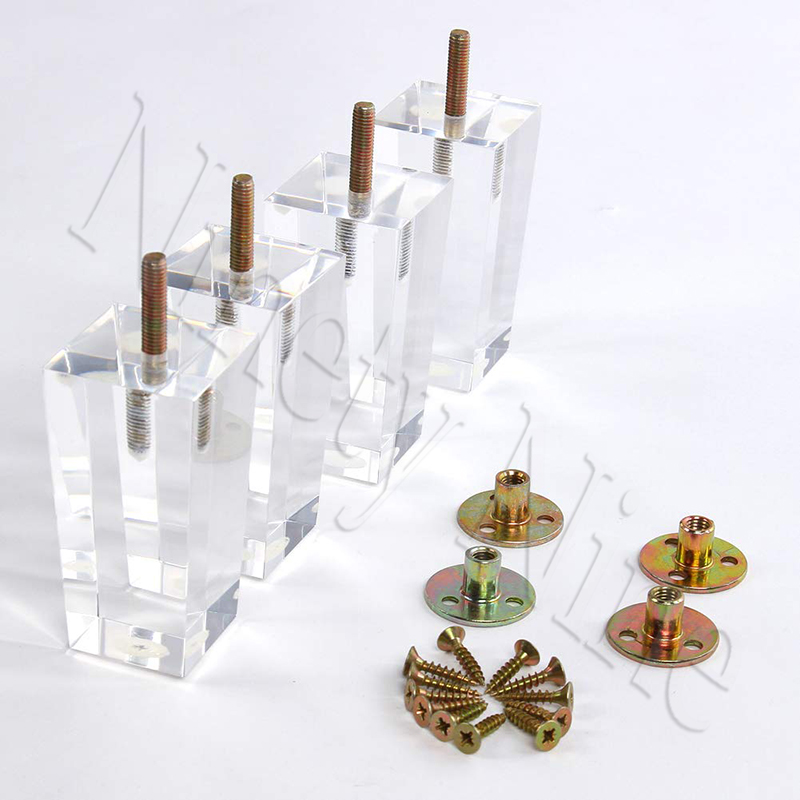 4Pcs 4/4.7inch Furniture Table Legs M8 Acrylic Furniture Leg Feet 100/120MM Coffee Tea Bar Stool Chair Leg Feet