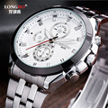 AAA Fashion Luxury Full Stainless Steel Mens Sports Quartz Watch Military 30m Waterproof 3 Eyes Male Dress Business Wristwatches