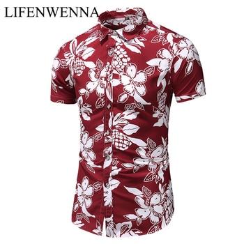 Summer New Arrival Shirts Men 2020 Fashion Print Short Sleeve Hawaiian Shirt Male Casual Flower Slim Fit Beach Shirts Plus M-7XL 1