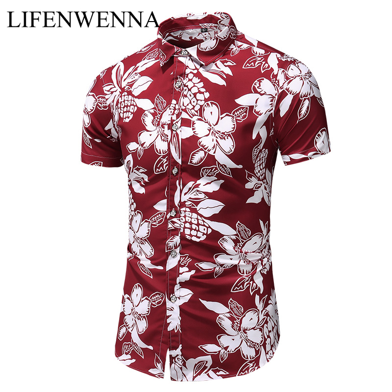Summer New Arrival Shirts Men 2019 Fashion Print Short Sleeve Hawaiian Shirt Male Casual Flower Slim Fit Beach Shirts Plus M-7XL