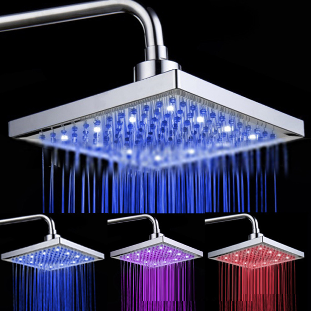 Waterfall Sqaure 8 inch 3 Colors Color Changing Temperature Sensor LED Shower Head Showerhead Chrome Home Bathroom Free Shipping