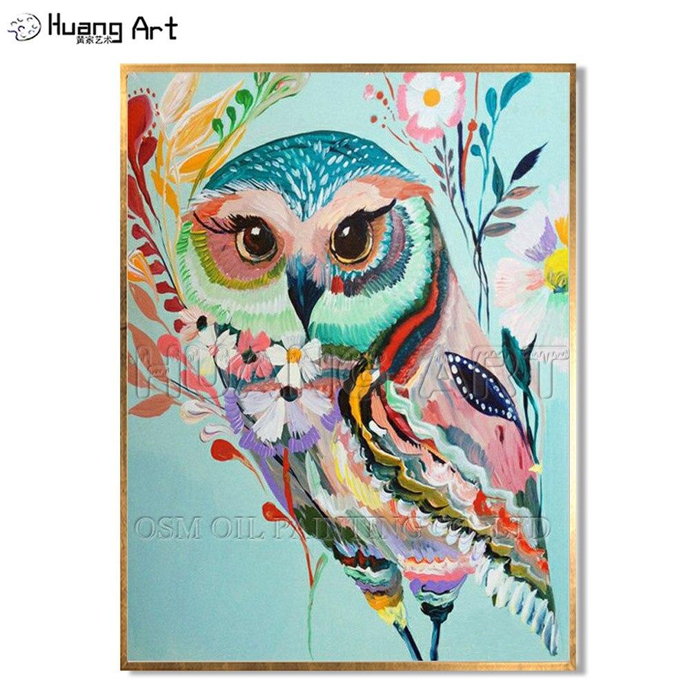 Altas Habilidades Artesanais Coruja de Alta Qualidade Da Pintura A Óleo sobre Tela do Artista Colorido Cores Coruja Animal Da Arte Da Lona Pintura de Parede