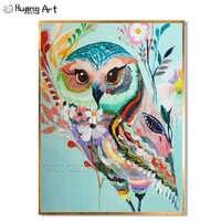 Alta Capacità di Artista Fatti A Mano Del Gufo di Alta Qualità Pittura A Olio su Tela di Canapa Colorato Colori Animale Del Gufo della Tela di canapa Pittura di Arte per la Parete