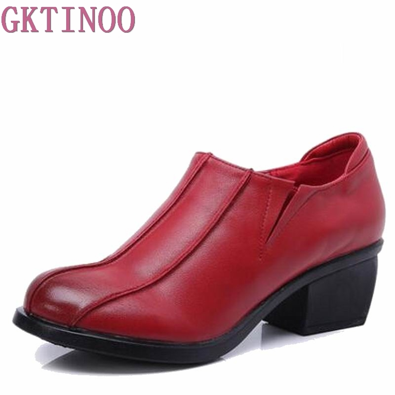 Retro Style Shoes Women Chunky Heels Pumps Round Toe High Heels Genuine Leather HY0317 2017 shoes women med heels tassel slip on women pumps solid round toe high quality loafers preppy style lady casual shoes 17
