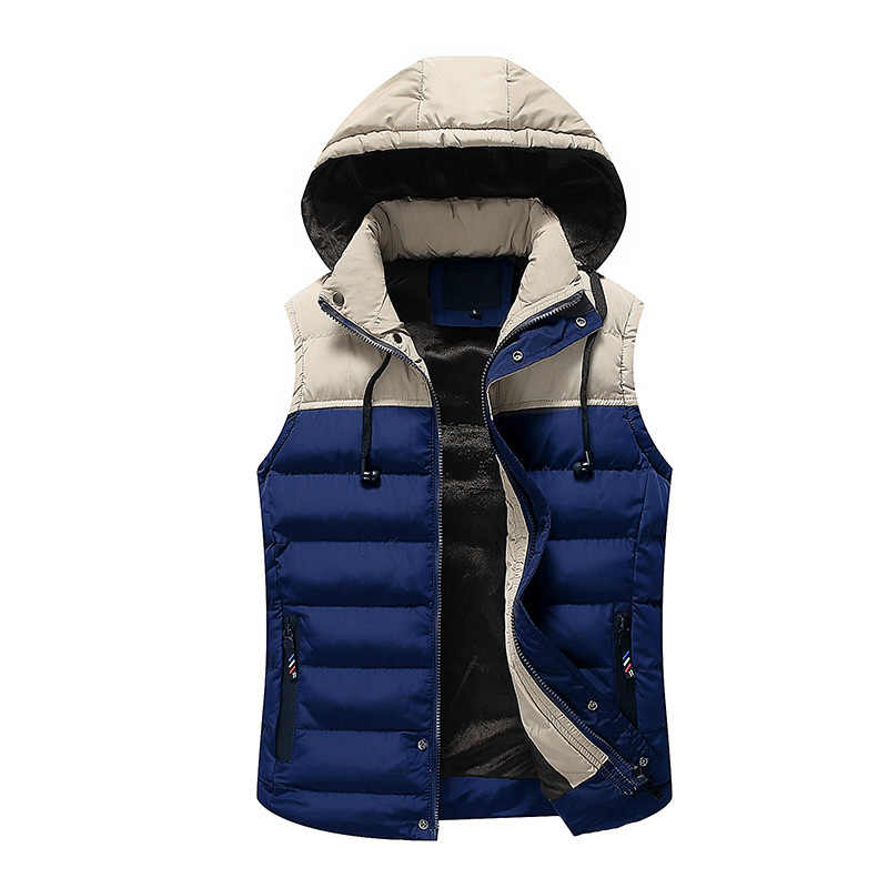 Plus Size Autumn Men Casual Vest 2019 Fashion Winter Baggy Spell Color Parka Sleeveless Jackets Male Padded Thick Warm CYL54