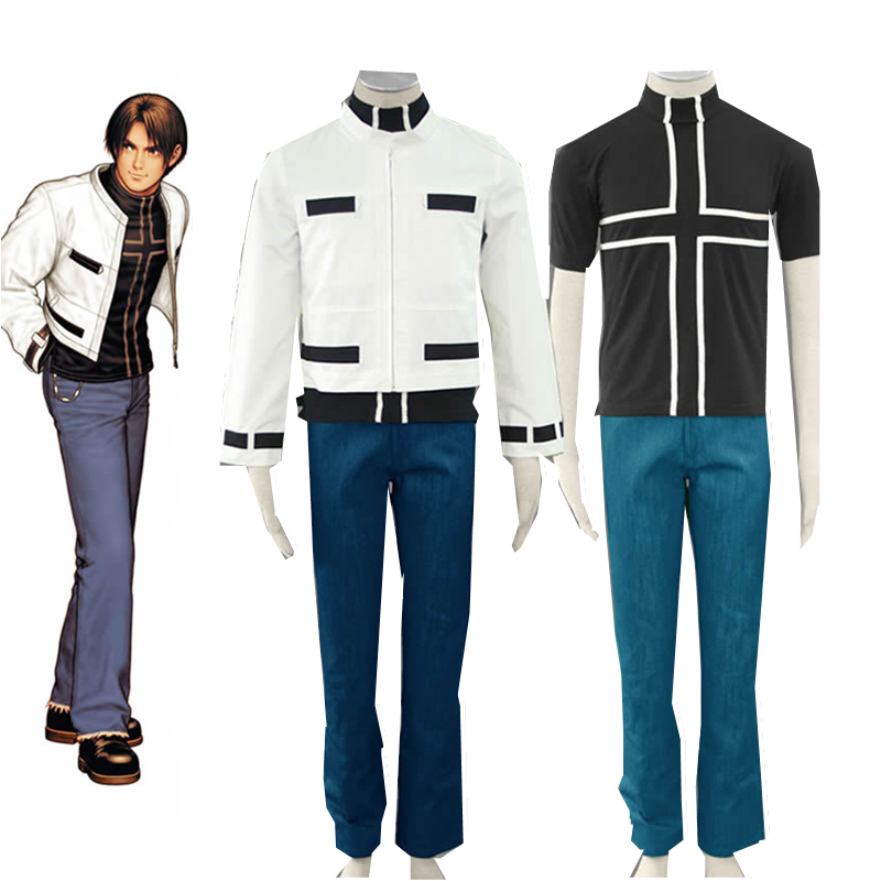 Anime Costumes The King of Fighters Kyo Kusanagi Black coat Set Cosplay Costume