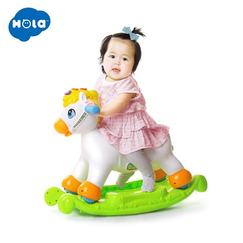 Poney à bascule Musical éducatif cheval à bascule tour sur rouleaux avec musique/lumière/jouet coulissant enfants apprennent ABC, formes et numéros