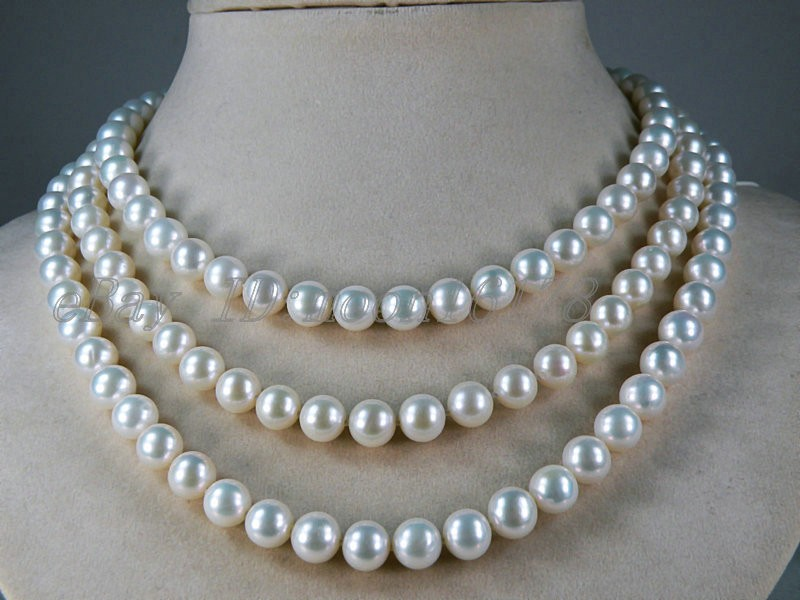 FREE shipping>>> >>>7-7.5mm White AAA Grade Akoya Pearl Long Necklace 48 цена и фото