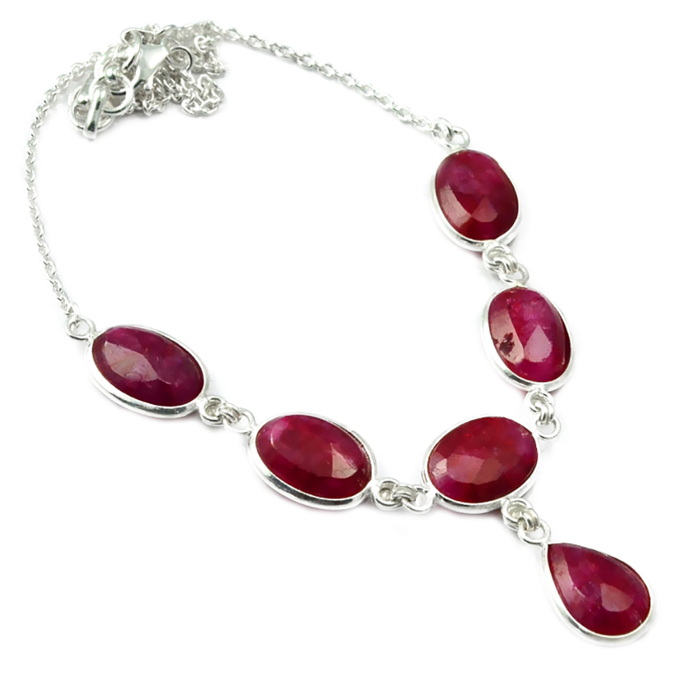 Nature Ruby Necklace 925 Sterling Silver, 43 cm, MHBNE0085Nature Ruby Necklace 925 Sterling Silver, 43 cm, MHBNE0085