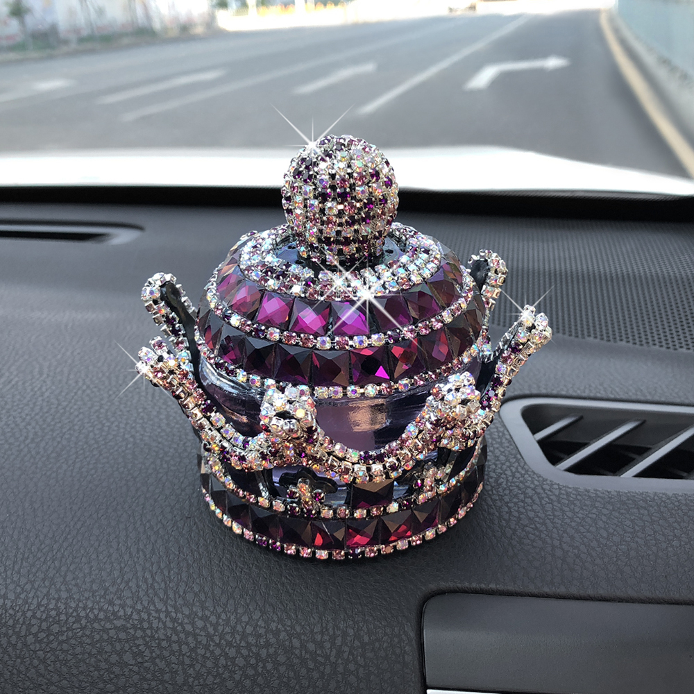 Car Perfume Ornament Diamond Crystal Crown Shape Air Freshener Fragrance Diffuser Auto Dashboard Decoration Essential Oil Gifts Crazy Price Interior Accessories Automobiles & Motorcycles