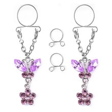 New Fashion Stainless Steel Flowers Non pierced Clip On Nipple Rings Women Crystal Fake Nipple Dangle Adjustable Body Jewelry