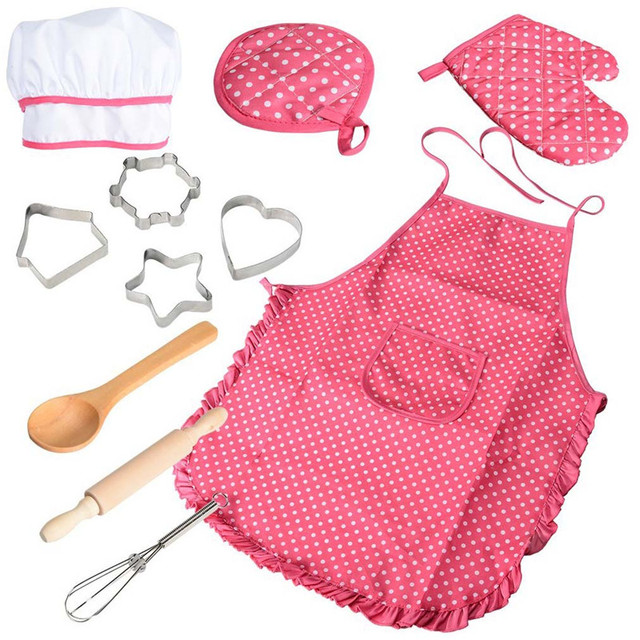 Kitchen toy Kids Chef Set DIY Cooking Baking Suit Toys Set Pretend Play Clothes Apron Gloves Hat Cooker Gift For Kids Girl p22