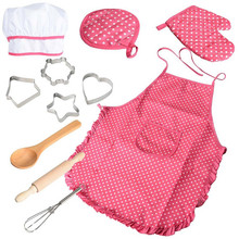 Kitchen toys Kids Chef Set DIY Cooking Baking Suit Toys Set Pretend  Clothes Apron Gloves children's kitchen Gift For girl toys free shipping by trackable shipping original sylvanian family of country kitchen set pretend toys child gift