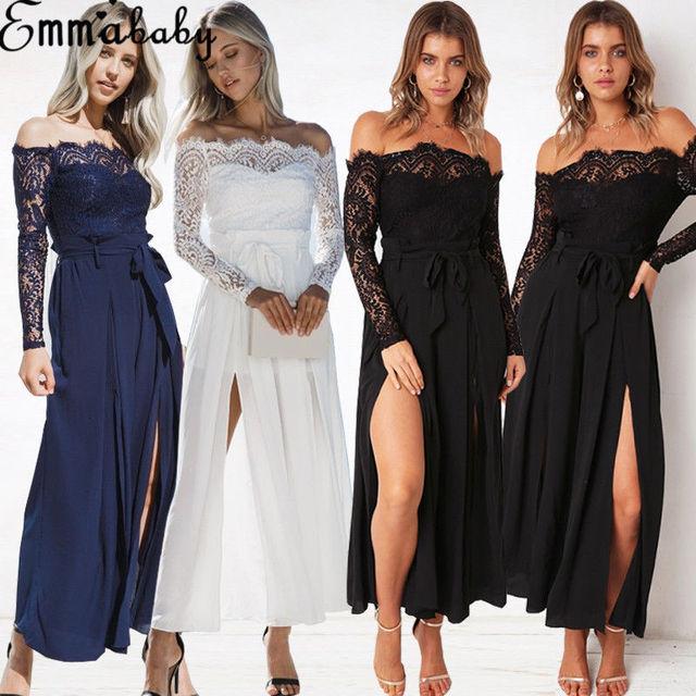 00d4980893bf New Sexy Women Off Shoulder Lace Jumpsuit High Waist Long Sleeve Lace Up  Split Evening Party Playsuit Party Jumpsuit Trousers