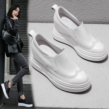 Women Sneakers Fashion Women Height Increasing Genuine cow Leather slip on Wedges Sneakers Platform Shoes Woman Casual Shoes