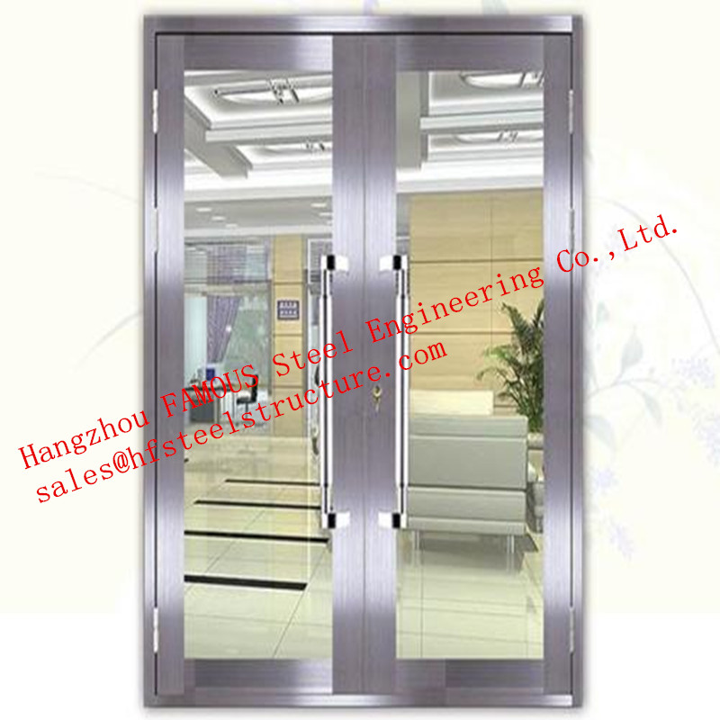 Galvanized Steel With Fireproof Glass Fire Rated Double Doors For Shopping Mall