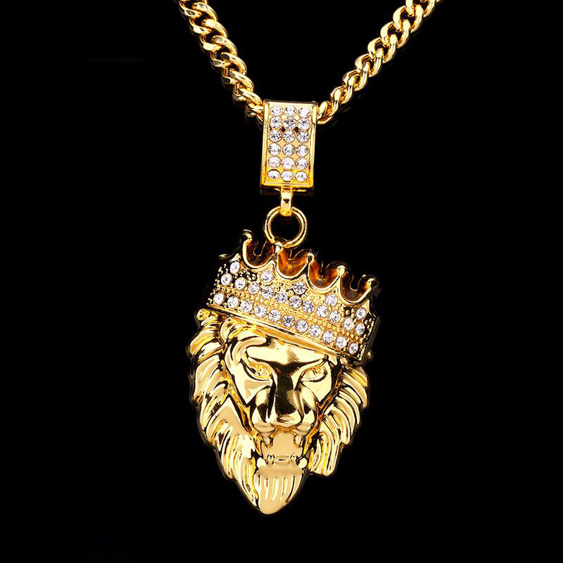 Men Hip Hop Jewelry2018 New Iced Out Gold Fashion Bling Lion Head Pendant Men Necklace Gold Filled For Men Women Gift Wholesale fashion rhinestone hollow out tortile cross shape pendant necklace for men