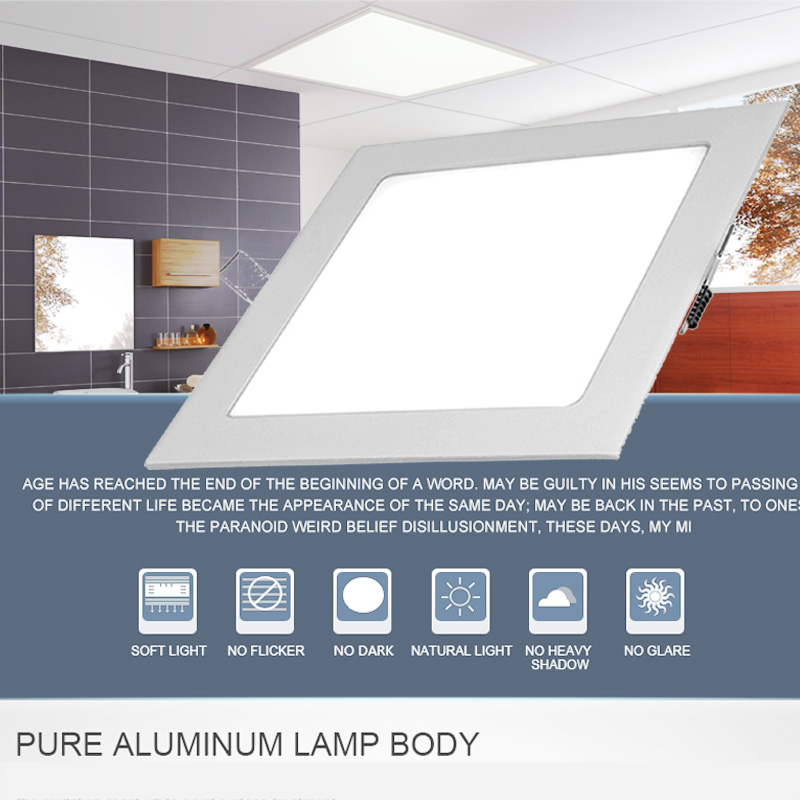 Carré LED panneau downlight 3 W 6 W 9 W 12 W 15 W 18 W 24 W plafond Encastré Mince Ultra Mince Conception LED Panneau Lumière pour L'intérieur 2018