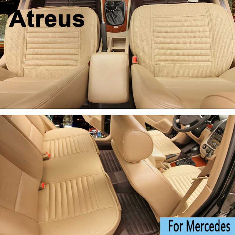 Atreus <font><b>Car</b></font>-styling Four Seasons Leather Cushions <font><b>car</b></font> <font><b>seat</b></font> <font><b>Covers</b></font> For <font><b>Mercedes</b></font> <font><b>W211</b></font> W203 W204 W210 W205 W212 W220 AMG Accessories image
