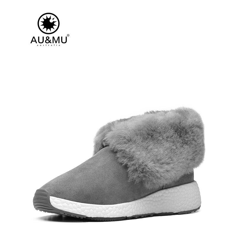 2017 AUMU Australia Womens Ankle Fur Flat Boot Short Winter Snow Boots UG NY083 fur snow boots winter warm female cotton padded shoes women autumn 2017 australia plush fashion short ankle boot boats mujer hot