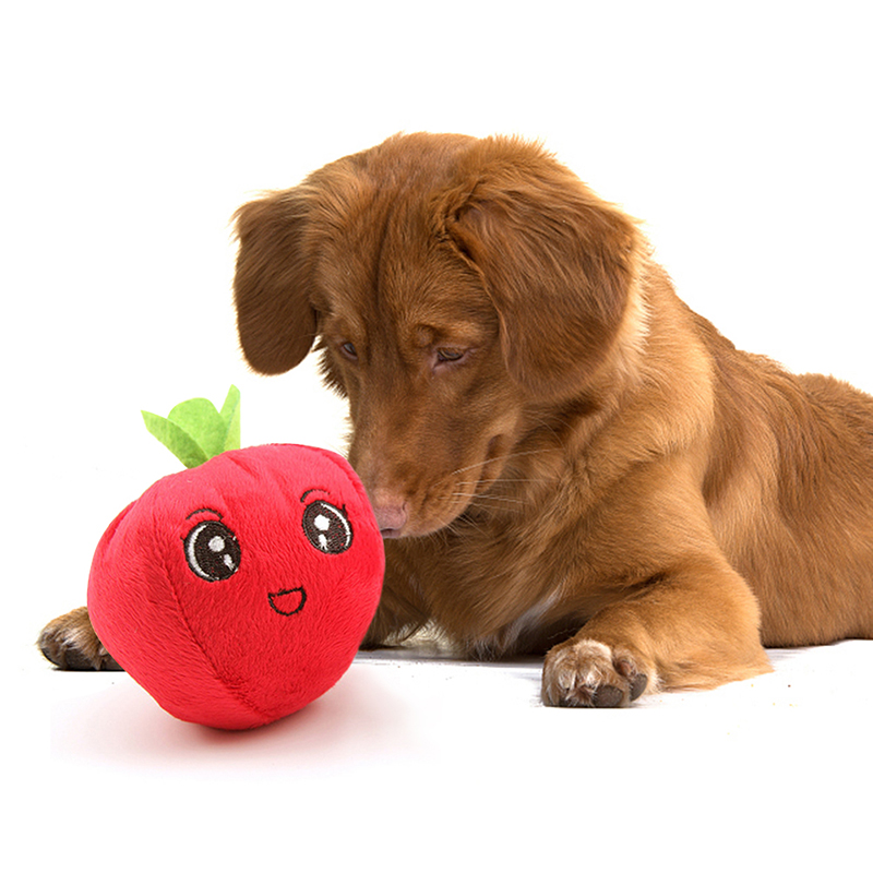 Smiled Red apple Shape Dog Toys Pet Puppy Chew Squeaker Squeaky Plush Sound Fruits Toys Gift in Dog Toys from Home Garden