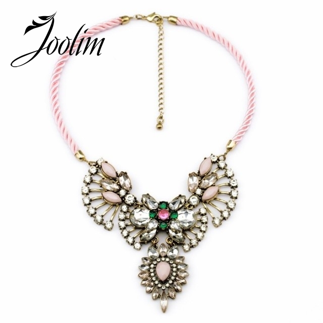 JOOLIM  New Rope Chain Vintage Crystal Flower Choker Necklace Design Necklace  Free Shipping