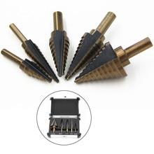 Step Cone Drill Bit For Metal Wood 5 PCS 1/4 Hss Cobalt Titanium Conical Carbide Center Drill Perforator Hole Cutter Tool