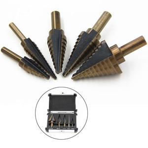 Image 1 - Step Cone Drill Bit For Metal Wood 5 PCS 1/4 Hss Cobalt Titanium Conical Carbide Center Drill Perforator Hole Cutter Tool