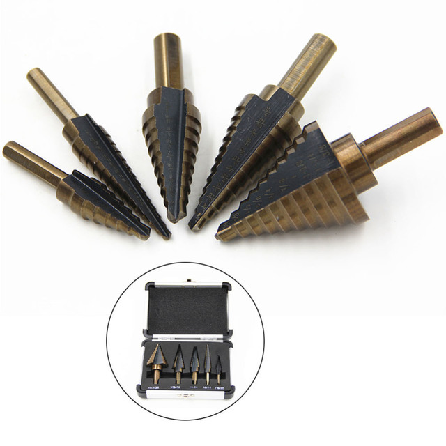 Step Cone Drill Bit For Metal Wood 5 PCS 1/4 Hss Cobalt Titanium Conical Carbide Center Drill Perforator Hole Cutter Tool