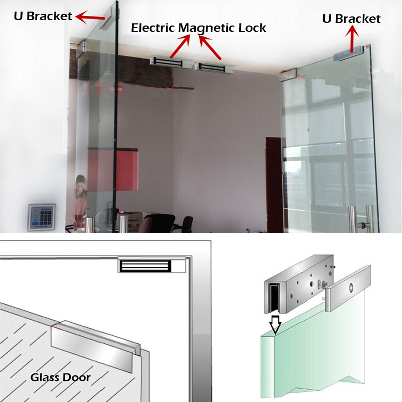 Raykube U Bracket For 280kg Electric Magnetic Lock Install Glass Door R 280u In Access Control Accessories From Security Protection On Aliexpress Com