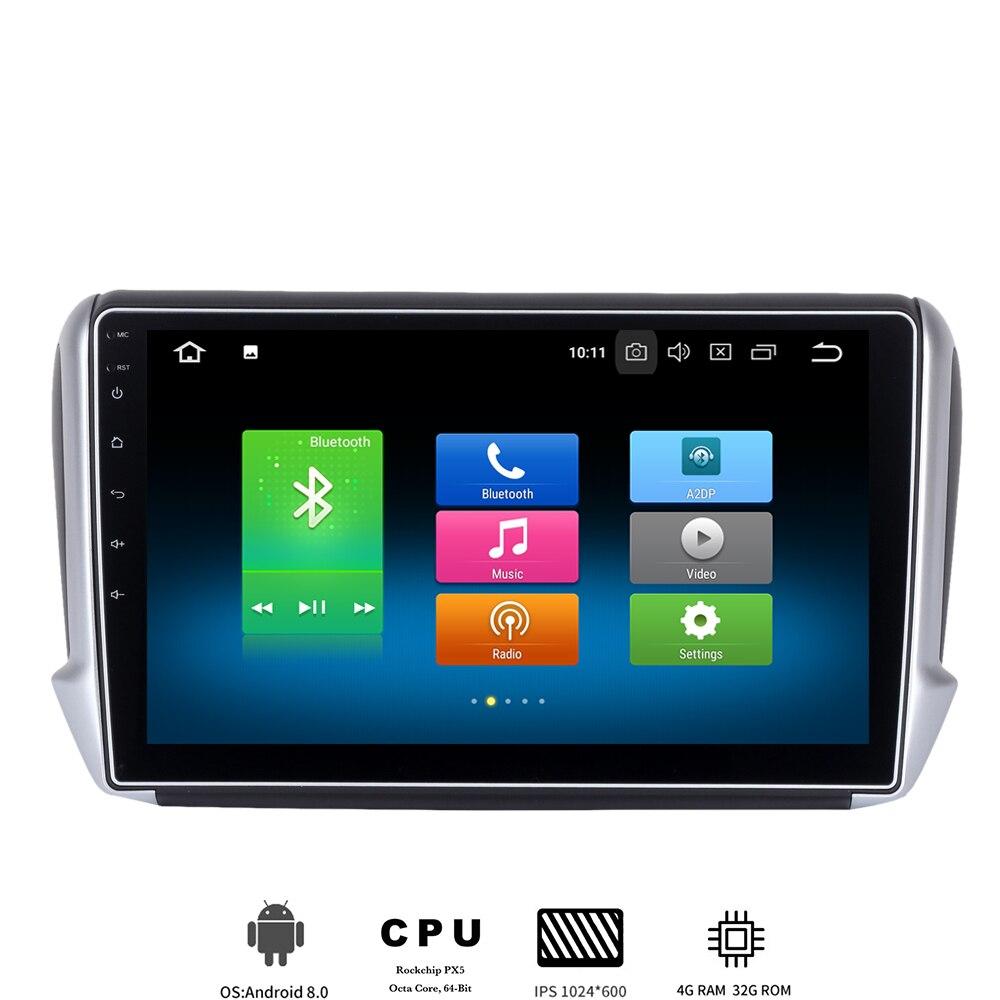 10.2 lecteur multimédia de voiture ips Android 8.0 pour 2012-2017 Peugeot 208 Peugeot 2008 auto radio avec 8 core 4Gb + 32Gb GPS intégré
