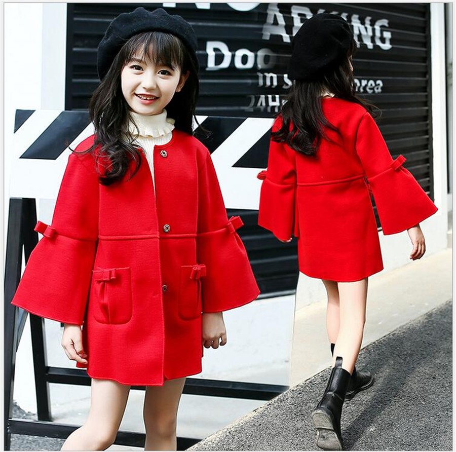 цена на Autumn Baby Girl Clothes Girls Fashion Red Long Sleeve Bow Coat Spring jackets Kids Warm Outerwear Children Christmas Clothing