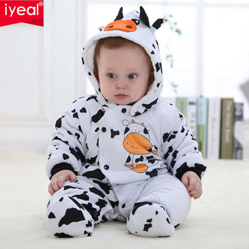 IYEAL Newborn Baby Girl Boy Winter Clothes Baby Rompers Cotton Overalls For Kids Roupa Bebes Cow Baby Costume Clothing unisex baby rompers cotton cartoon boys girls roupa infantil winter clothing newborn baby rompers overalls body for clothes
