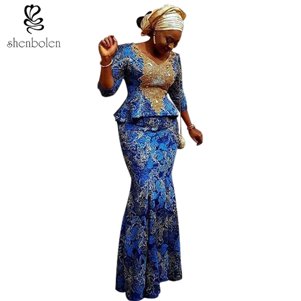 2018 summer African dresses for women sexy V-neck ankara batik printing pure cotton suit long sleeve top+ maxi skirt plus size