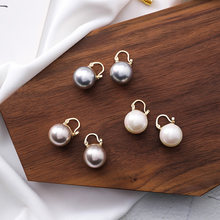 Must Have 2019 New Minimalist White Gray Champagne Small Pearl Hoop Earrings For Women Vintage Popular Mini Pearl Ball Earring(China)