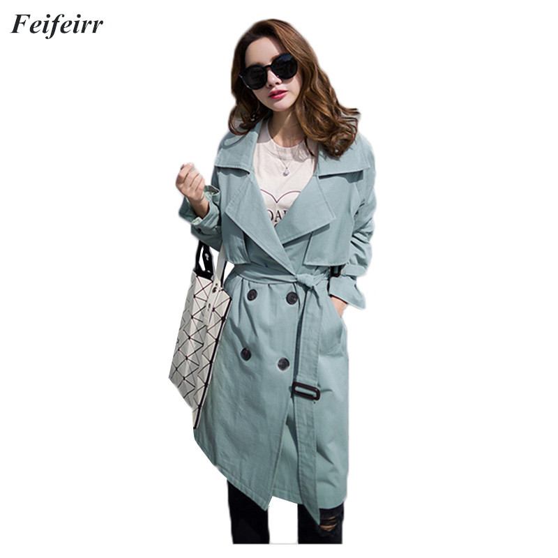 2018 Spring Autumn Women Korean loose casual long section   Trench   Coat Fashion Slim Double Breasted Casual Overcoat Windbreaker