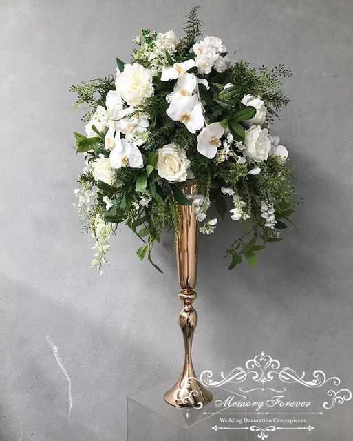 295 Inches Tall Metallic Gold Floral Trumpet Vase Riser Wedding