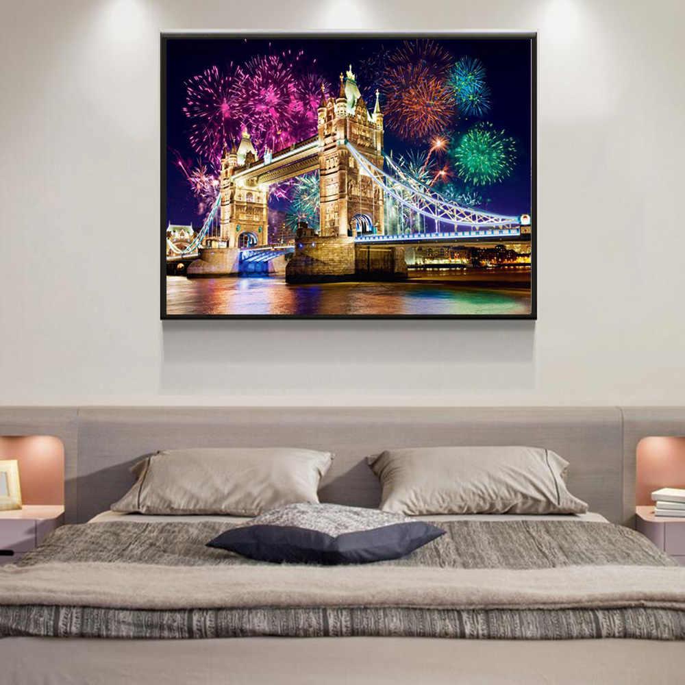 Huacan peinture en diamant nuit, broderie en diamant panoramique vente à londres décor de la maison plein carré/pont rond en mosaïque de diamant