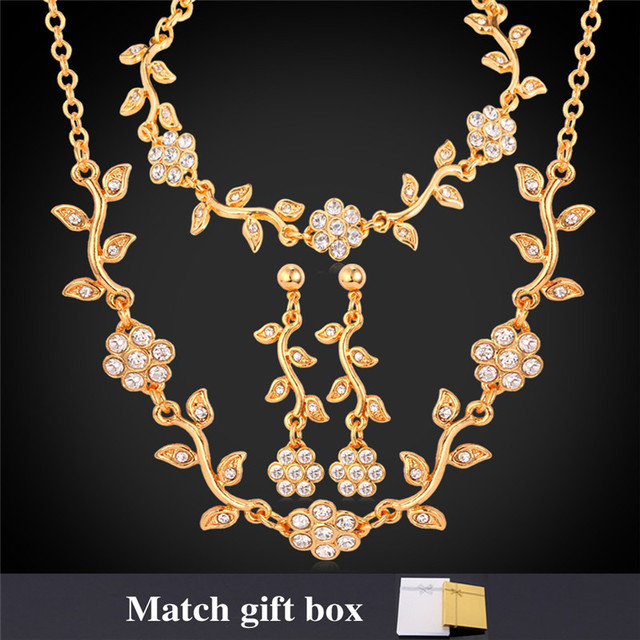 U7 Wedding Flower Set Yellow Gold Plated Crystal Necklace Bracelet Earrings Bridal Jewelry Set With Gift Box S122