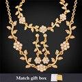 U7 conjunto flor do casamento amarelo banhado a ouro pulseira colar de cristal brincos conjunto de jóias de noiva com caixa de presente s122