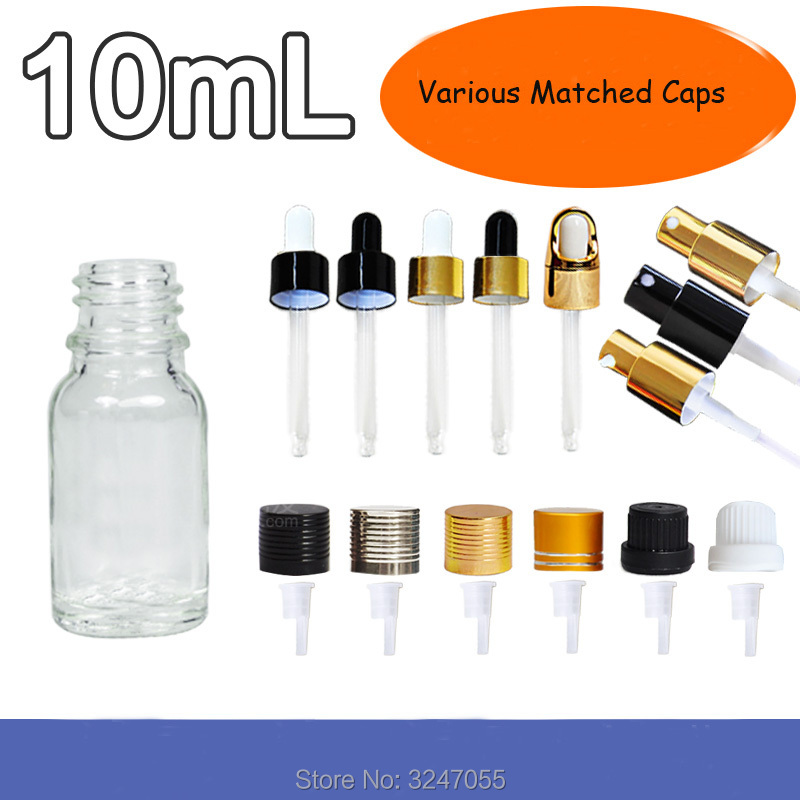 10ML 20Pcs50Pcs Empty Clear Glass Essential Oil Bottle, High Quality Dropper Bottle,Cosmetic Emulsion Package,Cosmetic Container 100pcs new 2ml clear glass roll on bottle with clear cap