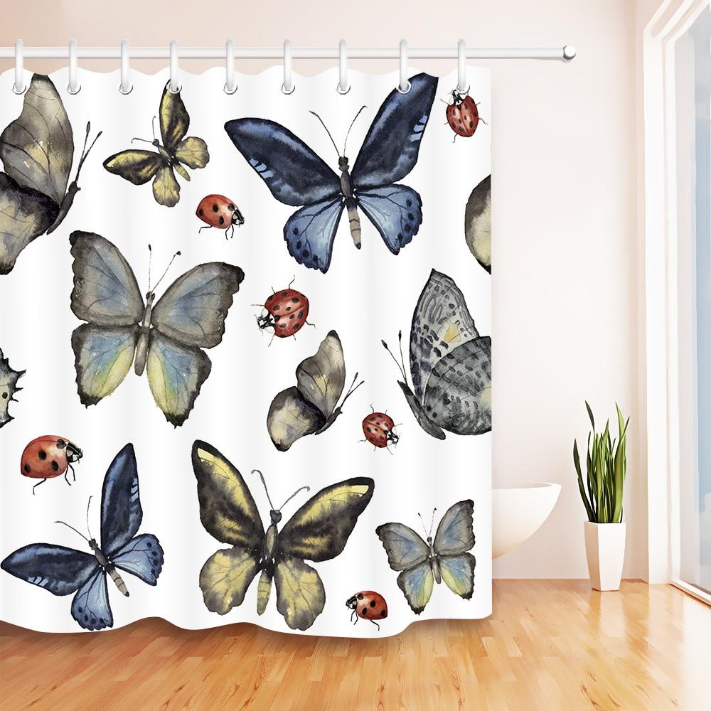 "72/"" Waterproof Fabric Bathroom Mat Shower Curtain Home Decor Black Butterfly"