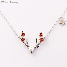 2016 New 925 Sterling Silver Small Elk Necklaces & Pendants Silver Chain Choker Necklace Jewellery Collar Colar