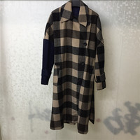 High Quality Brand Coat Women Double Breasted Fashion O Neck Plaid Outwear Blends Jacket For Women