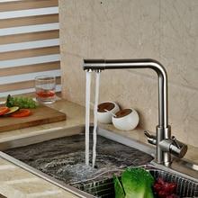 Brand NEW Kitchen Sink Kran Filtr Czystej Wody Drink Mixer Tap Podwójny Uchwyty Dwa Wylewka Nikiel Finish