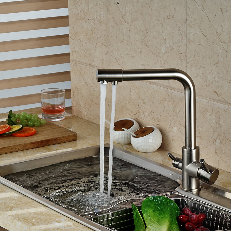 brand new kitchen sink faucet pure water filter drink mixer tap dual handles two spout brushed - Kitchen Sink Drink