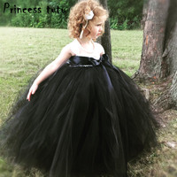 Classical Black White Marilyn Monroe Dress Girl Cosplay Costume Kids Clothes Baby Ball Gown Bow Wedding Dress Party Dresses W075