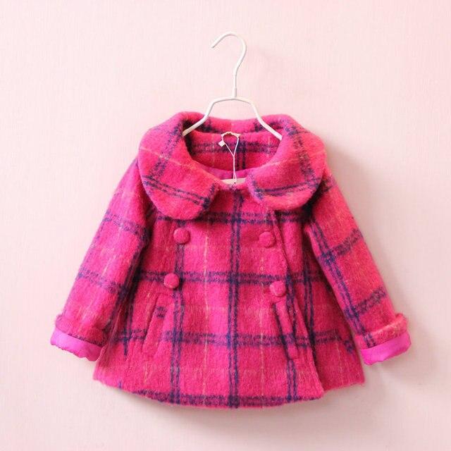 Зима девочка Пальто для девочек Шерстяные пальто красный плед Пальто куртки Верхняя Одежда Детская Плюс Бархат Полушерстяные куртки девушки