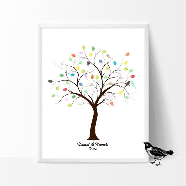 Pájaros del amor En el Árbol de la Boda, envío Personalizado Huella ...