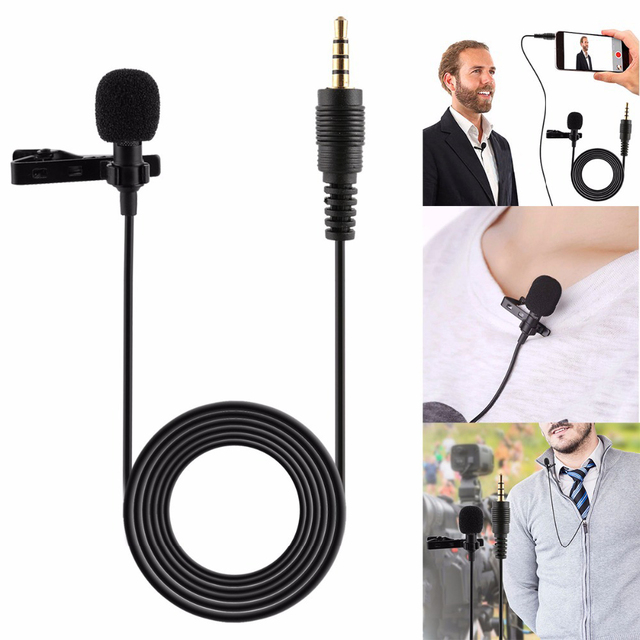 Portable Professional Grade Lavalier Mic Microphone 3.5mm Jack Omnidirectional Clip on Microphone for Recording Live Video